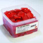 Tarro de gigantes trozos de regaliz de fresa suave