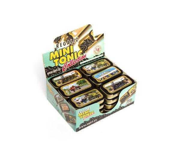 Latas mini tonic colección transportes rellenas de regaliz mentolado