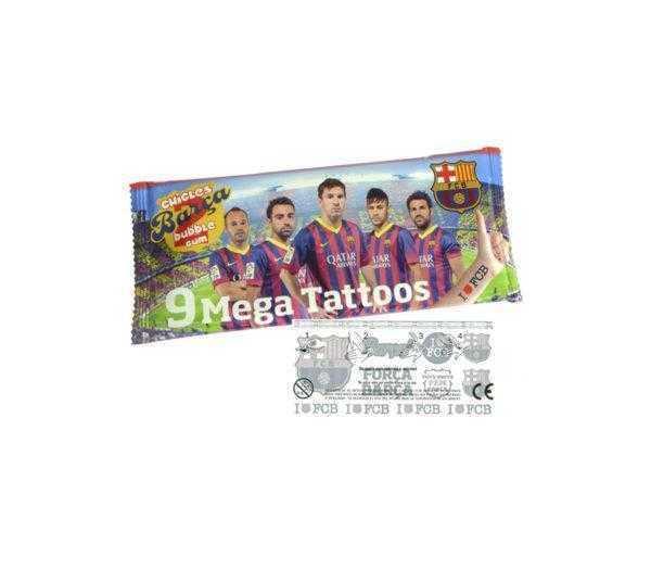 Sobre del Barça con 2 chicles con adhesivo más tatoos