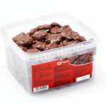 Tarro de tartas de caramelo y cacahuete bañadas en chocolate