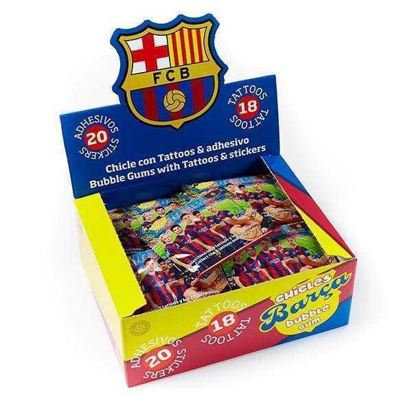 Expostor de chicles del FC Barcelona con adhesivo y tatuajes