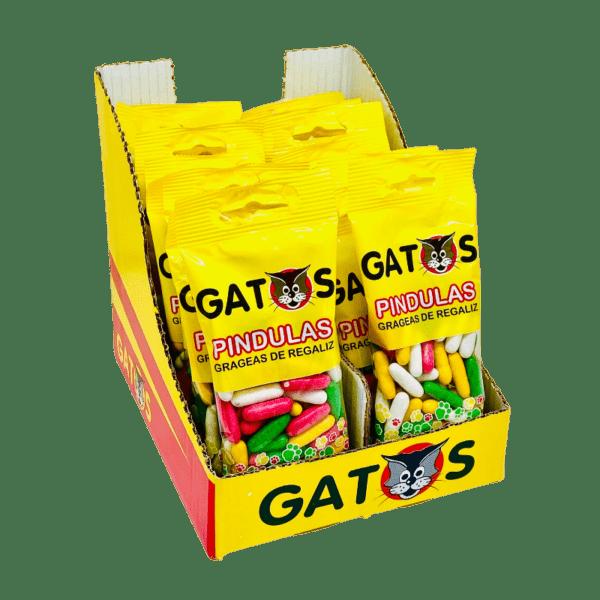 Caja mostrador pindulas grageas de regaliz gatos